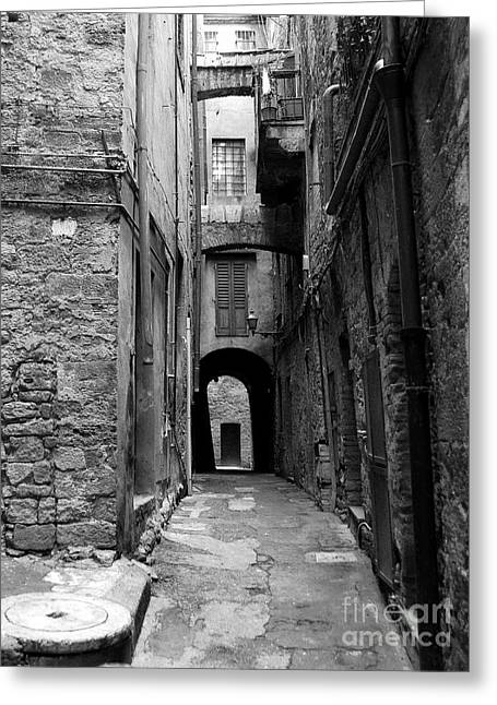 Medieval City Greeting Cards - A Town In Tuscany 3 bw Greeting Card by Mel Steinhauer