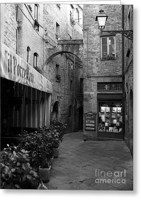 Trattoria Greeting Cards - A Town In Tuscany BW Greeting Card by Mel Steinhauer