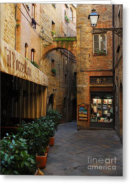 A Town In Tuscany Greeting Card by Mel Steinhauer