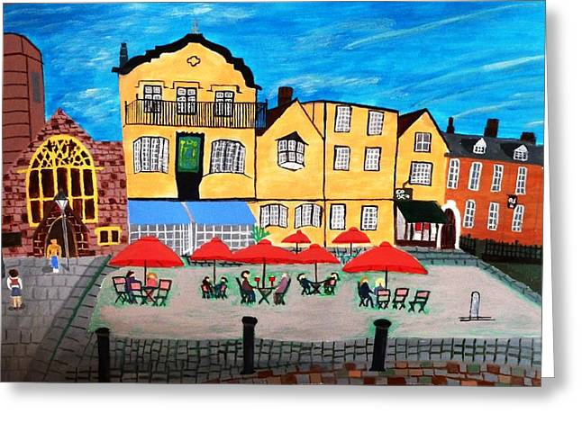 A Town Square On A Clear Day Greeting Card by Magdalena Frohnsdorff