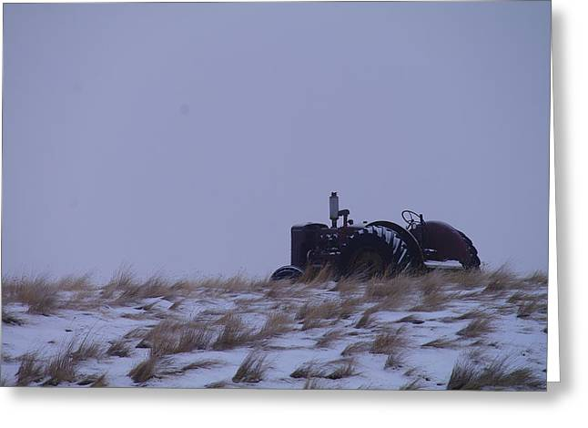 A Tractor Fading To The Snow  Greeting Card by Jeff Swan