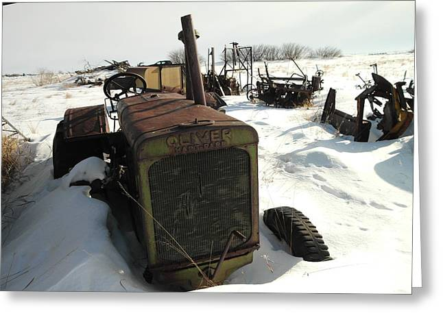 Old Relics Photographs Greeting Cards - A Tractor In The Snow Greeting Card by Jeff  Swan