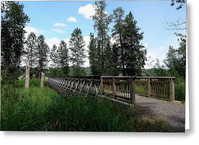 Bottomlands Greeting Cards - A Trails Footbridge Greeting Card by Lizbeth Bostrom