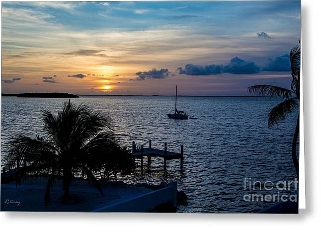 Isla Morada Greeting Cards - A Tranquil Conquering of the Night Greeting Card by Rene Triay Photography