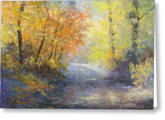 Fall Colors Pastels Greeting Cards - A Tranquil Trail Greeting Card by Christine Bass