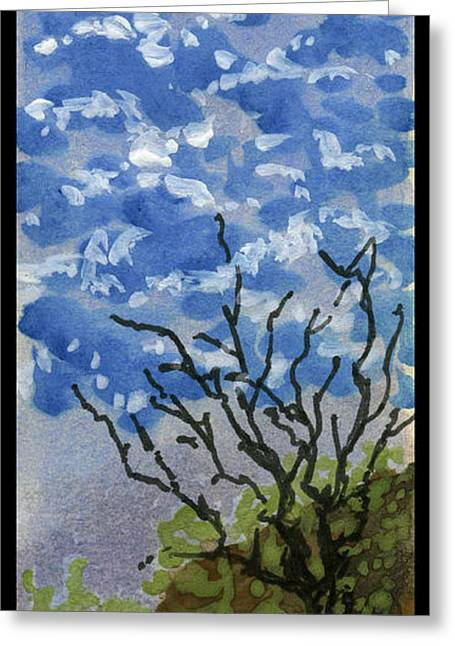Printmaking Greeting Cards - A tree made of Clouds Greeting Card by Cathy Peterson
