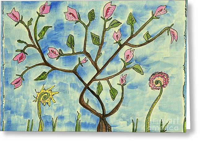 Surreal Landscape Drawings Greeting Cards - A tree making fruit  Greeting Card by Cathy Peterson