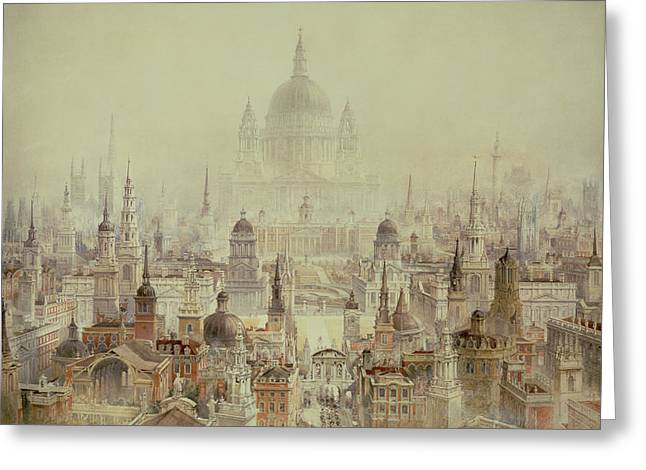 A Tribute To Sir Christopher Wren Greeting Card by Charles Robert Cockerell