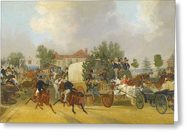 Sutton Paintings Greeting Cards - A Trip To Epsom Greeting Card by James Pollard