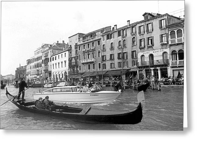 Gondolier Greeting Cards - A Trip to Remember II in Black and White Greeting Card by Suzanne Gaff