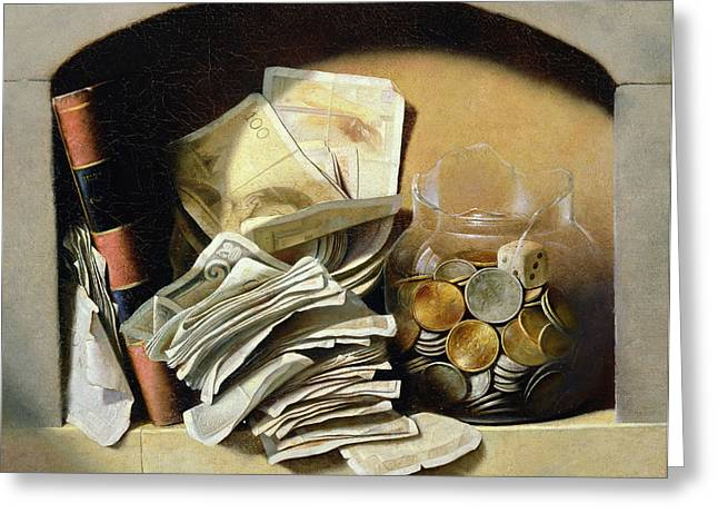 Broken Glass Greeting Cards - A trompe loeil of paper money coins Greeting Card by French School