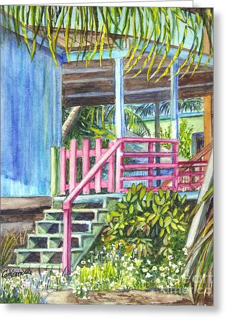 Garden Scene Drawings Greeting Cards - A Tropical Beach House Greeting Card by Carol Wisniewski