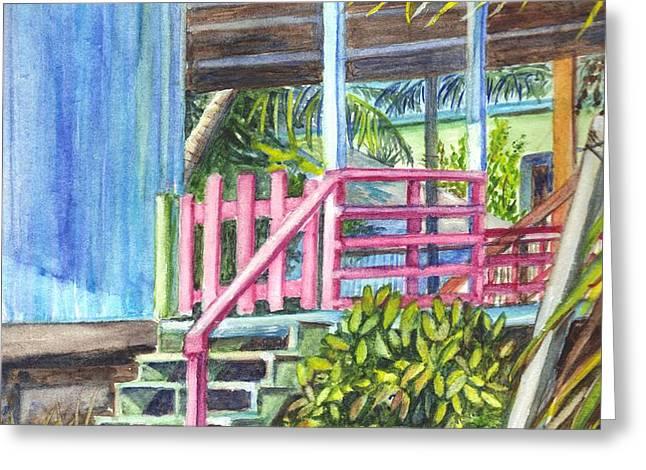 A Tropical Beach House Greeting Card by Carol Wisniewski