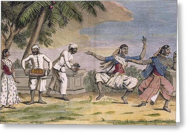 Playing Musical Instruments Greeting Cards - A Troupe Of Bayaderes, Or Indian Greeting Card by Pierre Sonnerat