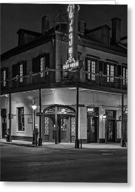 Night Scenes Greeting Cards - A Tujagues Night monochrome Greeting Card by Steve Harrington