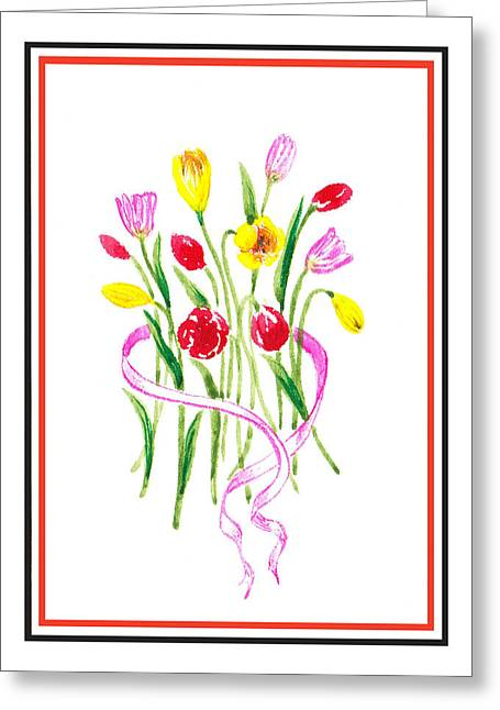 Landscape. Scenic Greeting Cards - A Tulip Bunch Greeting Card by Irina Sztukowski