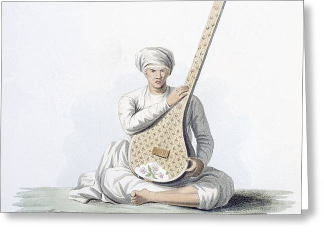 Lute Paintings Greeting Cards - A Tumboora, Musical Instrument Played Greeting Card by Franz Balthazar Solvyns