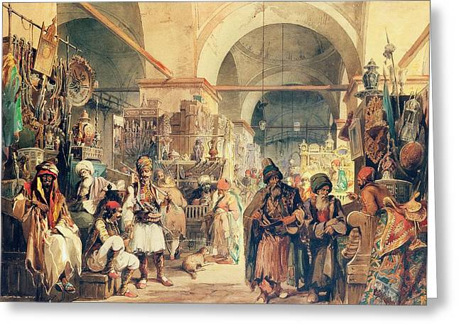 Souk Greeting Cards - A Turkish Bazaar Greeting Card by Amadeo Preziosi
