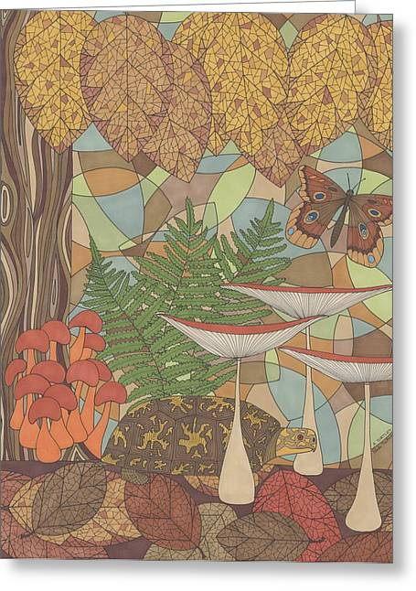 Forest Floor Drawings Greeting Cards - A Turtles View Greeting Card by Pamela Schiermeyer