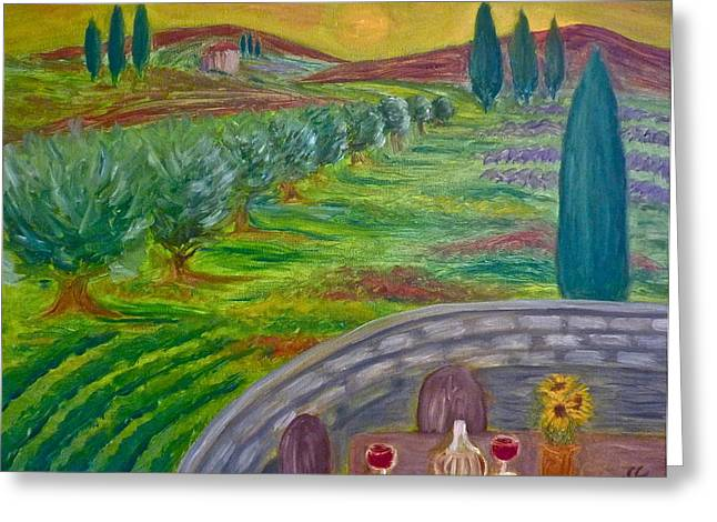 Tuscan Sunset Greeting Cards - A Tuscan Balcony Greeting Card by Victoria Lakes