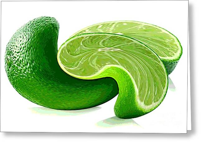 Sour Mixed Media Greeting Cards - A Twist of Lime Greeting Card by Spencer McKain