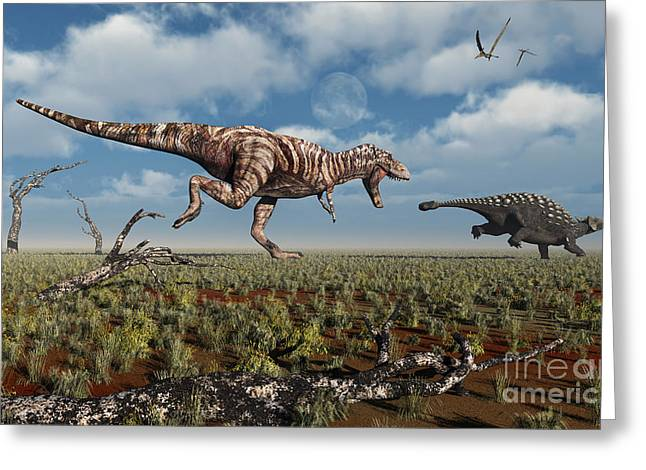 Ankylosaurus Digital Greeting Cards - A Tyrannosaurus Rex Giving Chase To An Greeting Card by Mark Stevenson