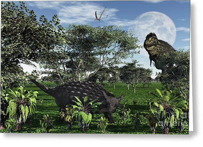 Ankylosaurus Digital Greeting Cards - A Tyrannosaurus Rex Stalking Greeting Card by Mark Stevenson