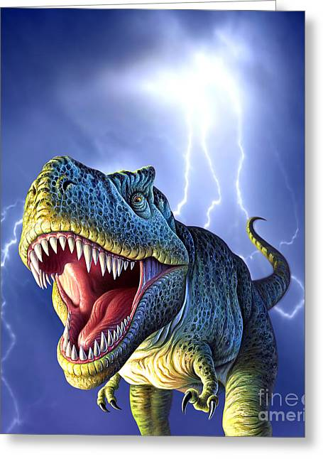 Images Lightning Digital Art Greeting Cards - A Tyrannosaurus Rex With A Blue Stormy Greeting Card by Jerry LoFaro