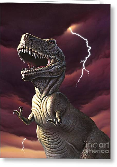 Images Lightning Digital Art Greeting Cards - A Tyrannosaurus Rex With A Red Stormy Greeting Card by Jerry LoFaro