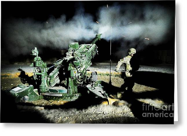 A United States Gun Crew Fire Illumination Rounds At Forward Operating Base Hadrian Greeting Card by Paul Fearn