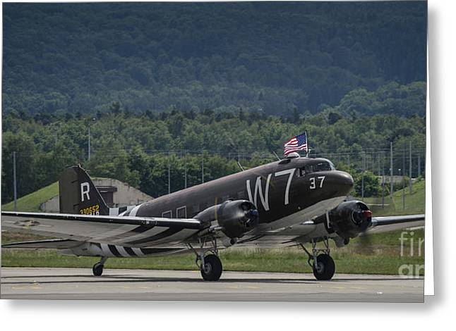 Dc-3 Plane Greeting Cards - A U.s. Air Force C-47 Skytrain Aircraft Greeting Card by Stocktrek Images