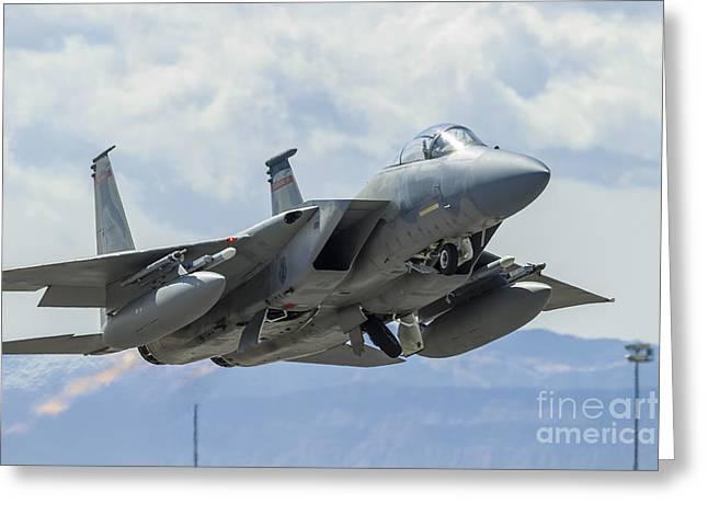 A U.s. Air Force F-15c Eagle Taking Greeting Card by Rob Edgcumbe