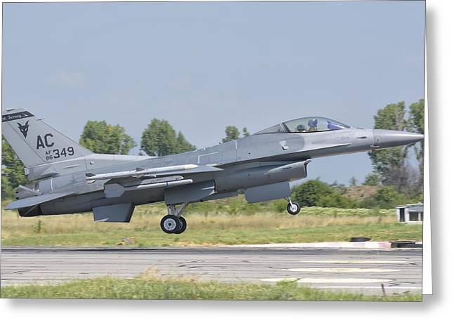 A U.s. Air Force F-16 During Exercise Greeting Card by Giovanni Colla