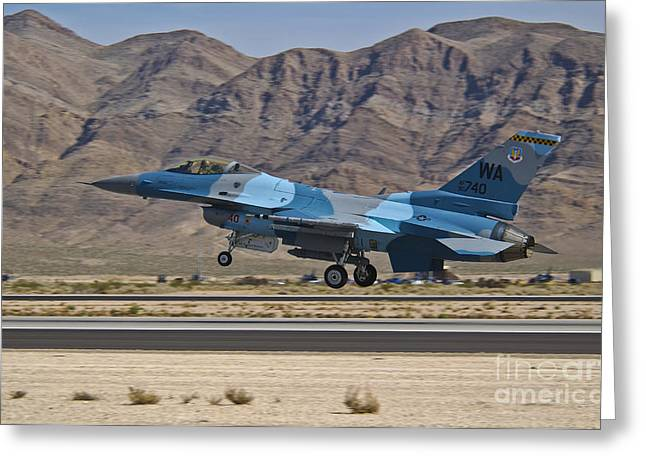 Aggressor Greeting Cards - A U.s. Air Force F-16c Taking Greeting Card by Scott Germain