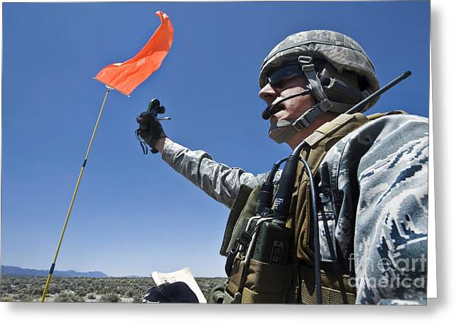 Speed Trials Greeting Cards - A U.s. Air Force Member Uses Greeting Card by Stocktrek Images