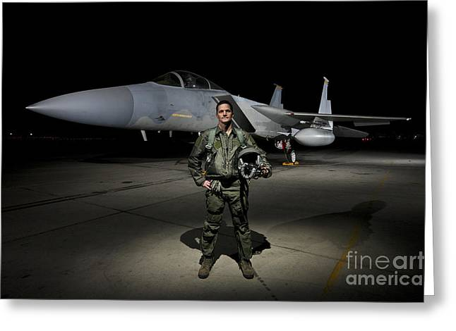 Hand On Waist Greeting Cards - A U.s. Air Force Pilot Stands In Front Greeting Card by Terry Moore