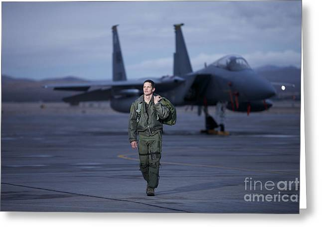 Full-length Portrait Photographs Greeting Cards - A U.s. Air Force Pilot Walking Away Greeting Card by Terry Moore