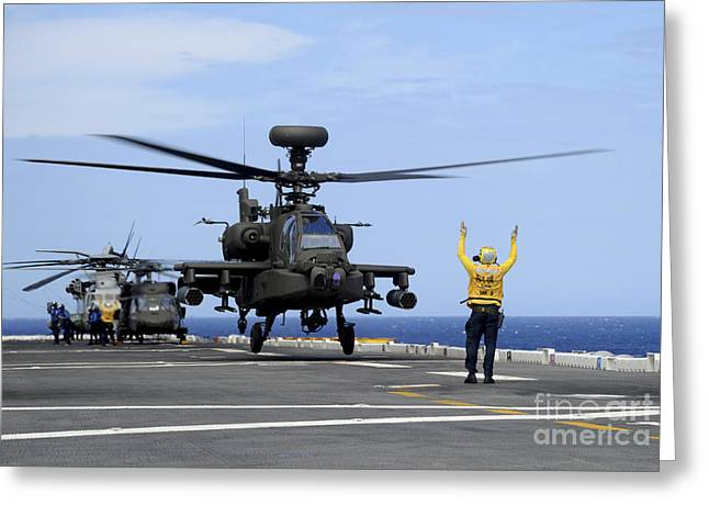 Hickam Greeting Cards - A U.s. Army Ah-64e Apache Guardian Greeting Card by Stocktrek Images