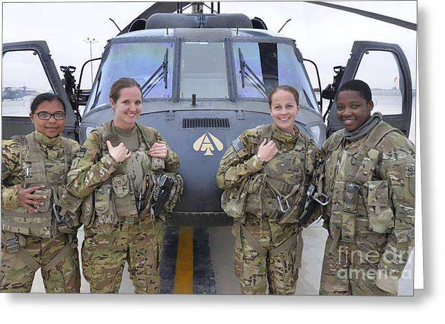 Rotorcraft Photographs Greeting Cards - A U.s. Army All Female Crew Greeting Card by Stocktrek Images