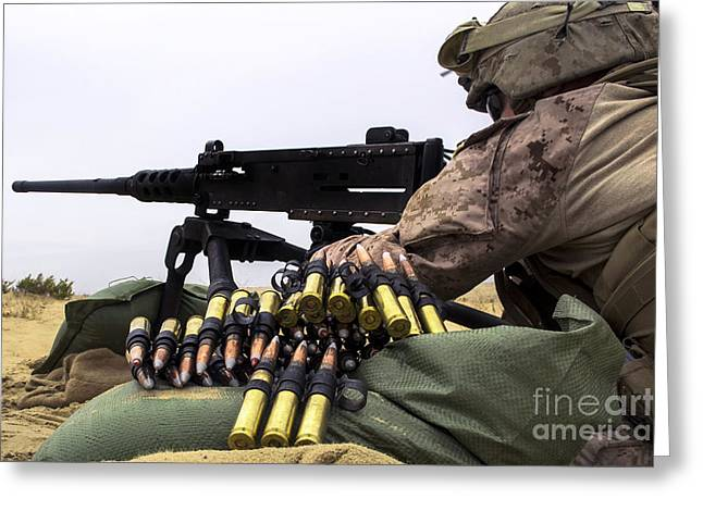 Shoulder-fired Greeting Cards - A U.s. Marine Fires An M2 .50 Caliber Greeting Card by Stocktrek Images