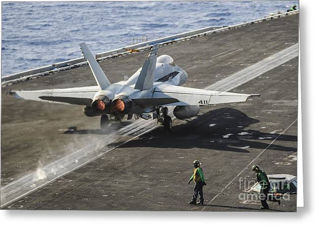 Military Airplanes Greeting Cards - A U.s. Navy Fa-18c Hornet Launches Greeting Card by Stocktrek Images