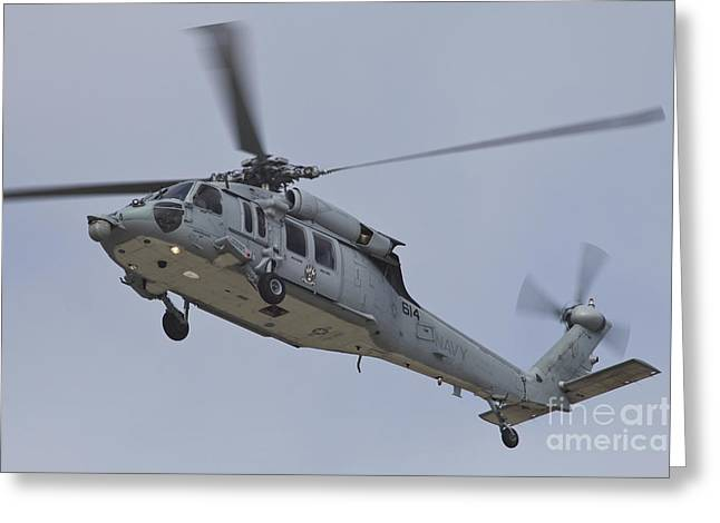 Low Wing Photographs Greeting Cards - A U.s. Navy Mh-60s Seahawk In Flight Greeting Card by Timm Ziegenthaler