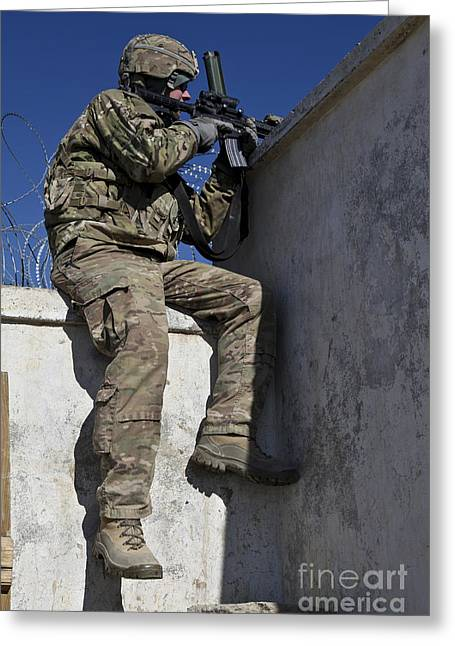 Logar Greeting Cards - A U.s. Soldier Provides Security At An Greeting Card by Stocktrek Images