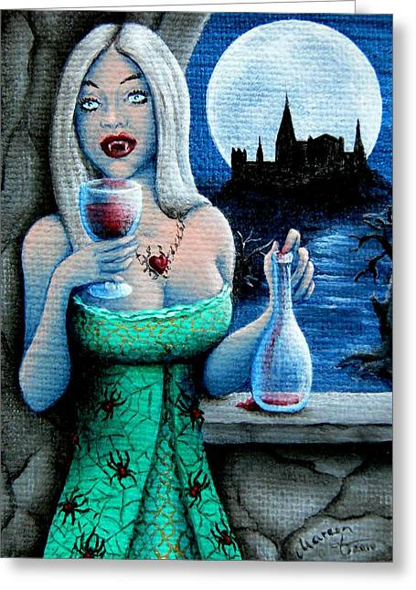 Black Widow Paintings Greeting Cards - A Vampires Treat Greeting Card by Mareen Haschke