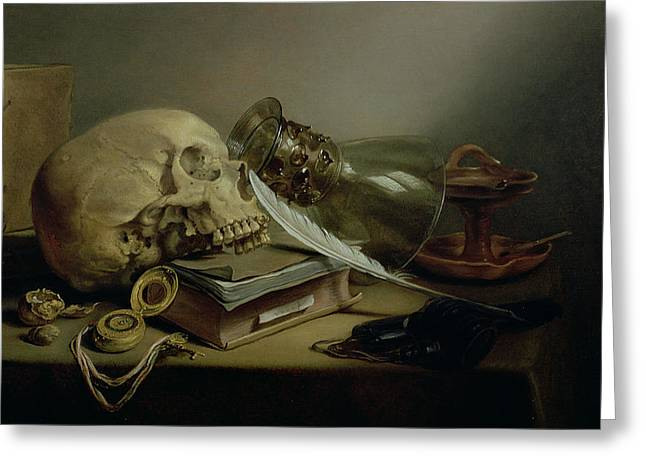 Goblet Greeting Cards - A Vanitas Still Life Greeting Card by Pieter Claesz