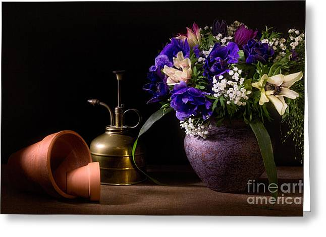 Babys Breaths Greeting Cards - A Vase of Anemones Greeting Card by Ann Garrett