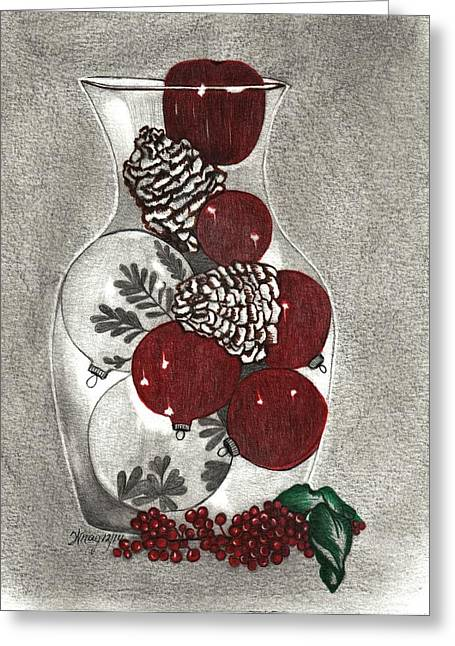 Pine Cones Mixed Media Greeting Cards - A Vase Of Christmas Greeting Card by Wraymona Low