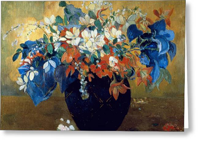 A Vase of Flowers Greeting Card by Paul Gauguin