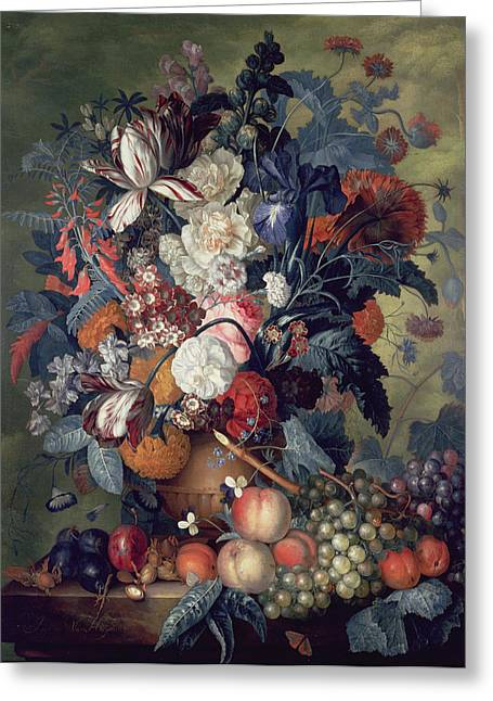 Ledge Paintings Greeting Cards - A Vase Of Flowers With Fruit Greeting Card by Jacob van Huysum