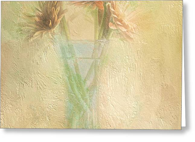 A Vase Of Gerbera Daisies In the Sun Greeting Card by Diane Schuster